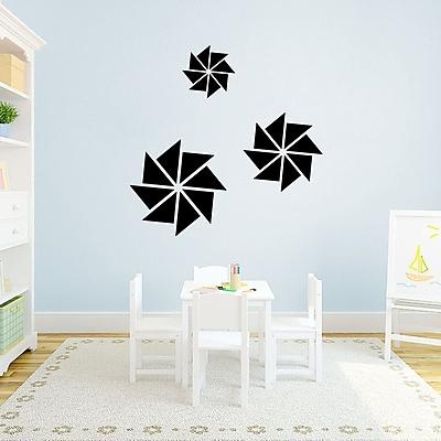 SweetumsWallDecals 3 Piece Pinwheels Wall Decal Set; Black