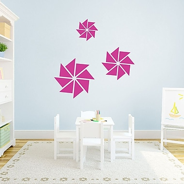 SweetumsWallDecals 3 Piece Pinwheels Wall Decal Set; Hot Pink
