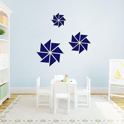 SweetumsWallDecals 3 Piece Pinwheels Wall Decal Set; Navy