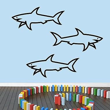 SweetumsWallDecals 3 Piece Sharks Wall Decal Set; Black