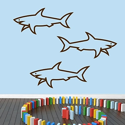 SweetumsWallDecals 3 Piece Sharks Wall Decal Set; Brown