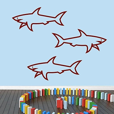 SweetumsWallDecals 3 Piece Sharks Wall Decal Set; Cranberry