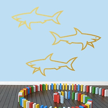 SweetumsWallDecals 3 Piece Sharks Wall Decal Set; Gold