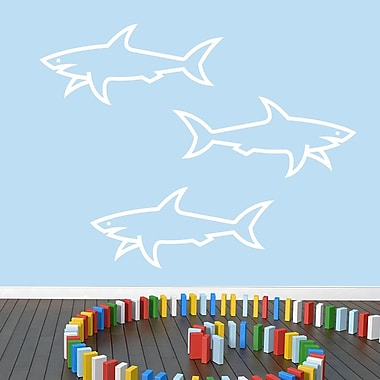 SweetumsWallDecals 3 Piece Sharks Wall Decal Set; White