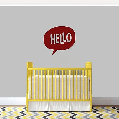 SweetumsWallDecals 3 Piece Hello Word Bubble Wall Decal Set; Cranberry