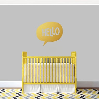 SweetumsWallDecals 3 Piece Hello Word Bubble Wall Decal Set; Gold