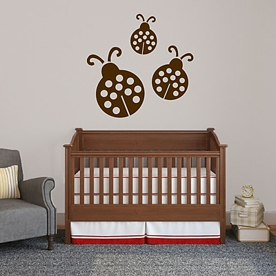 SweetumsWallDecals 3 Piece Ladybugs Wall Decal Set; Brown