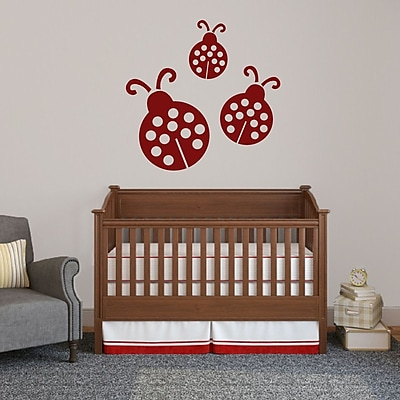 SweetumsWallDecals 3 Piece Ladybugs Wall Decal Set; Cranberry