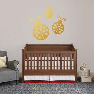 SweetumsWallDecals 3 Piece Ladybugs Wall Decal Set; Gold