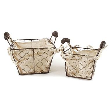 Blossom Bucket 2 Piece Square Wire Fabric Basket w/ Handles Set