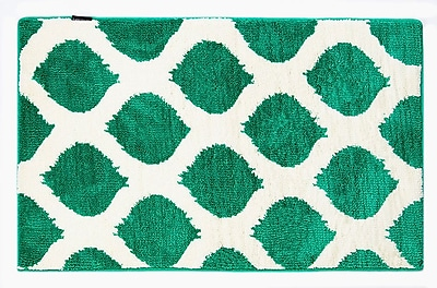 Fabbrica Home Emerald/White Smooth Ikat Memory Foam Bath Rug