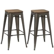 FamisCorp 24'' Bar Stool (Set of 2); Gunmetal