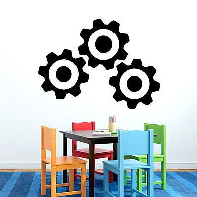 SweetumsWallDecals 3 Piece Gears Wall Decal Set; Black