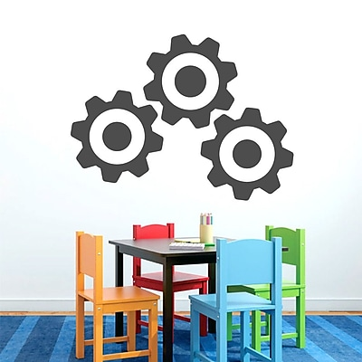 SweetumsWallDecals 3 Piece Gears Wall Decal Set; Dark Gray