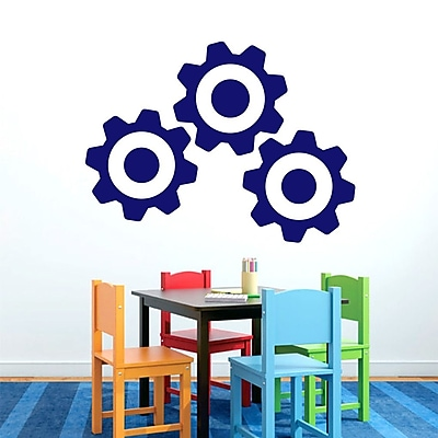SweetumsWallDecals 3 Piece Gears Wall Decal Set; Navy