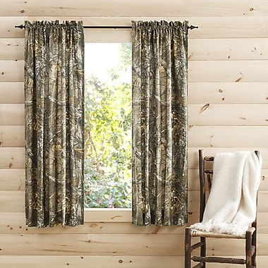 Realtree Camouflage Semi-Sheer Pinch Pleat Curtain Panels (Set of 2); 40'' W x 63'' L