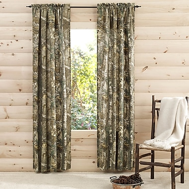 Realtree Camouflage Semi-Sheer Pinch Pleat Curtain Panels (Set of 2); 40'' W x 84'' L