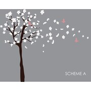 Wall Decal Source Tree, Cherry Blossom and Flowers Blowing in Wind Wall Decal; Scheme A