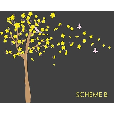 Wall Decal Source Tree, Cherry Blossom and Flowers Blowing in Wind Wall Decal; Scheme B