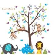 Wall Decal Source Nursery Tree, Lion and Elephant Vinyl Wall Decal; Scheme B