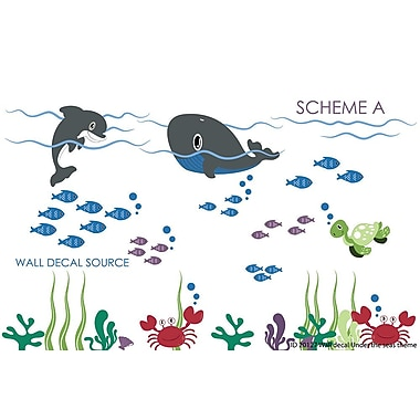 Wall Decal Source Dolphin and Whale Under the Sea Reusable and Removable Wall Decal; Scheme A