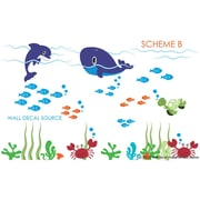 Wall Decal Source Dolphin and Whale Under the Sea Reusable and Removable Wall Decal; Scheme B