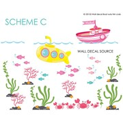 Wall Decal Source Boat, Submarine Reusable and Removable Nursery Monogram Wall Decal; Scheme C