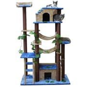 Kitty Mansions 78'' Amazon Cat Tree; Blue, Beige and Brown