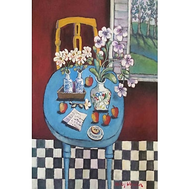 Marmont Hill 'La Table En Bleu' by Holly Wojahn Painting Print on Wrapped Canvas