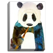 DiaNocheDesigns 'Panda' by Marley Ungaro Painting Print on Wrapped Canvas; 14'' H x 11'' W x 1.5'' D