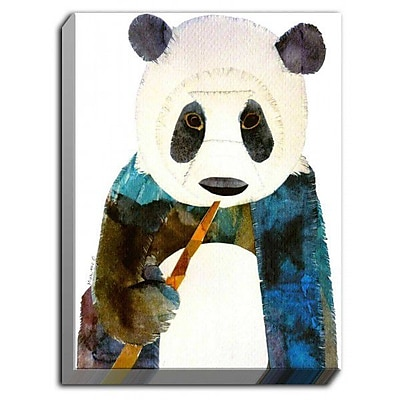 DiaNocheDesigns 'Panda' by Marley Ungaro Painting Print on Wrapped Canvas; 40'' H x 30'' W x 1.5'' D