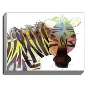 DiaNocheDesigns 'Zebra' by Marley Ungaro Painting Print on Wrapped Canvas; 18'' H x 24'' W x 1.5'' D