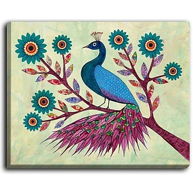 DiaNocheDesigns 'Blue Peacock' by Sascalia Graphic Art on Wrapped Canvas; 16'' H x 20'' W x 1.5'' D