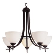 TransGlobe Lighting Contemporary 5-Light Shaded Chandelier; Rubbed Oil Bronze