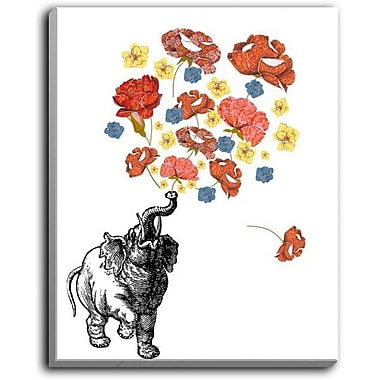 DiaNocheDesigns 'Elephant' by Marci Cheary Graphic Art on Wrapped Canvas; 16'' H x 12'' W x 1.5'' D