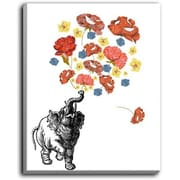 DiaNocheDesigns 'Elephant' by Marci Cheary Graphic Art on Wrapped Canvas; 20'' H x 16'' W x 1.5'' D