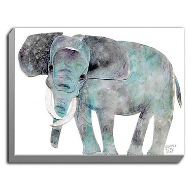 DiaNocheDesigns 'Elephant' by Marley Ungaro Graphic Art on Wrapped Canvas; 24'' H x 36'' W x 1.5'' D