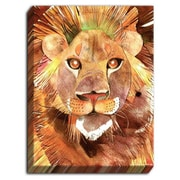DiaNocheDesigns 'Lion' by Marley Ungaro Painting Print on Wrapped Canvas; 24'' H x 18'' W x 1.5'' D