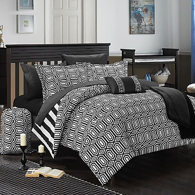 Chic Home Paris 8 Piece Twin XL Comforter Set; Black