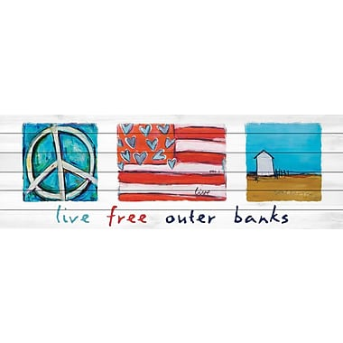 Marmont Hill 'Live Free Outer Banks' by Tori Campisi Painting Print on White Wood; 15'' H x 45'' W