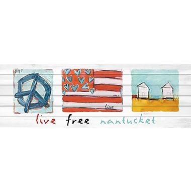 Marmont Hill 'Live Free Nantucket' by Tori Campisi Painting Print on White Wood; 20'' H x 60'' W