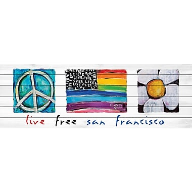 Marmont Hill 'Live Free San Francisco' by Tori Campisi Painting Print on White Wood; 15'' H x 45'' W