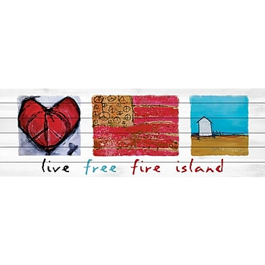 Marmont Hill 'Live Free Fire Island' by Tori Campisi Painting Print on White Wood; 20'' H x 60'' W