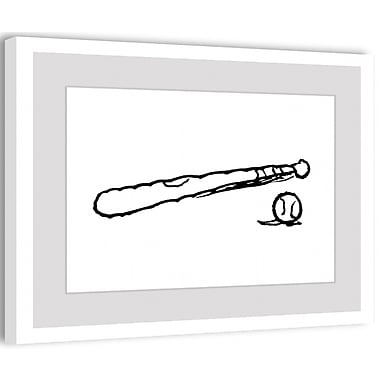 Marmont Hill Peanuts Baseball and Bat by Charles M. Schulz Framed Painting Print; 16'' H x 24'' W