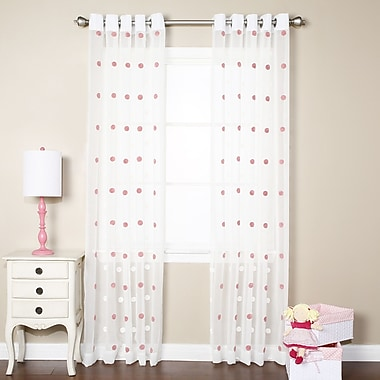 Best Home Fashion, Inc. Pom Pom Polka Dots Sheer Grommet Curtain Panels (Set of 2); Pink