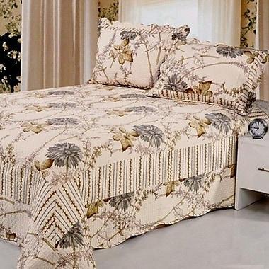 Home Sensation Natural Cotton Reversible 3 Piece Quilt Set