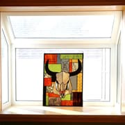 River of Goods Tiffany Style Stained Glass and Jade Rustic Cattle Window Panel