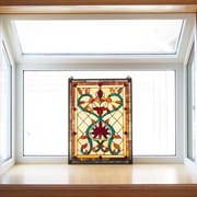 River of Goods Firey Hearts and Flowers Tiffany Style Stained Glass Window Panel
