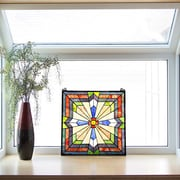 River of Goods Southwest Sunburst Tiffany Style Stained Glass Window Panel