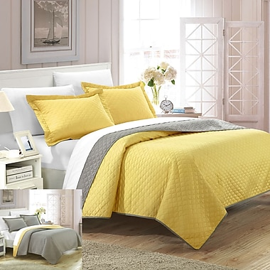 Chic Home Teresa 3 Piece Twin Quilt Set; Yellow